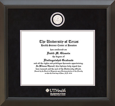 UTHSC-Houston Diploma Frame with Custom Silver Medallion