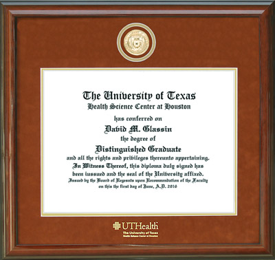 UT Health Science Center Diploma Frame with Custom Gold Medallion