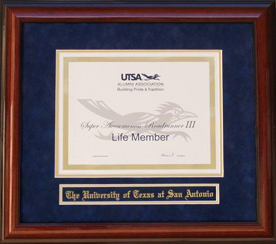 UTSA Alumni Association Life Member Certificate Frame
