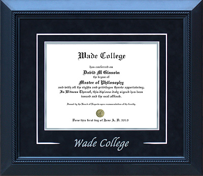 Wade College Diploma Frame with V-Groove