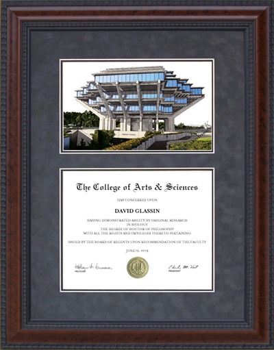 Diploma Frame with Licensed UC San Diego (UCSD) Campus Lithograph