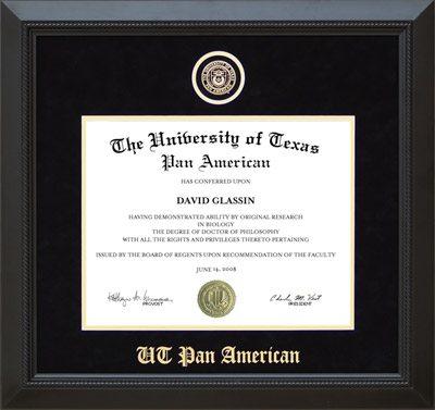 UT Pan American Designer Diploma Frame in Black Suede