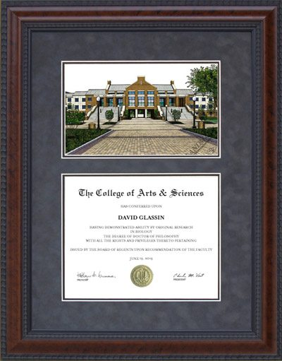 Diploma Frame with Licensed UT Arlington (UTA) Campus Lithograph