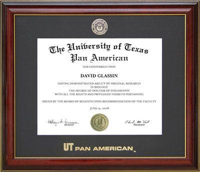 UTPA Essential Diploma Frame