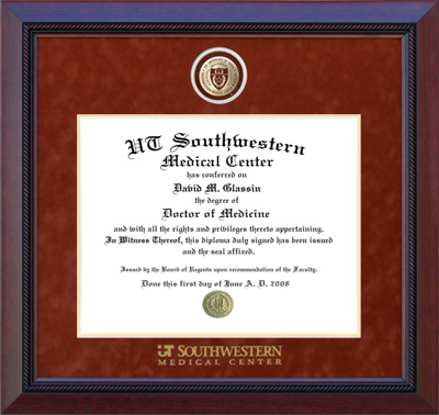 UTSWMC Diploma Frame in Mahogany with Suede Mat