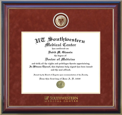 UTSW Medical Center Diploma Frame with Orange Suede Mat