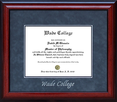 Wade College Embossed Diploma Frame