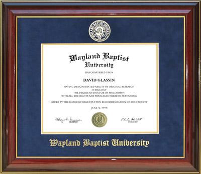 Wayland Baptist University Designer Diploma Frame