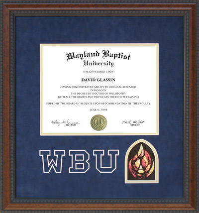 WBU Diploma Frame with Blue Suede Mat, Logo and Flame
