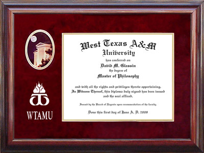 WTAMU Diploma Frame with Campus Photo and Logo