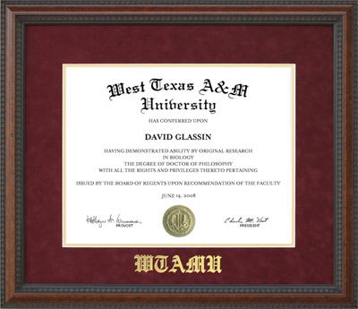 WTAMU Diploma Frame with Embossed Mat