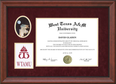 West Texas A&M Diploma Frame with Campus Photo